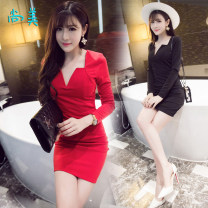 Dress Autumn 2021 Red [high quality stock], black [high quality stock], black [Plush version], red [Plush version] S,M,L,XL Short skirt singleton  Long sleeves commute V-neck middle-waisted Solid color Socket Pencil skirt routine 18-24 years old Type H Korean version Panel, zipper brocade cotton