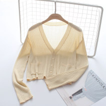 Wool knitwear Winter of 2018 Average size Apricot, white, green, black, lake blue Long sleeves Cardigan other 71% (inclusive) - 80% (inclusive) have cash less than that is registered in the accounts ultrathin commute easy V-neck routine Solid color Single breasted Korean version F1110 18-24 years old
