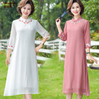 Dress Summer 2020 Pink green yellow red white XL 2XL 3XL 4XL 5XL Mid length dress singleton  elbow sleeve commute stand collar Loose waist Solid color Socket A-line skirt routine 40-49 years old Type A Di Wanfen lady Embroidered thread button DWF-286 More than 95% other Other 100%