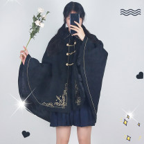 woolen coat Winter of 2019 S L Black cloak other 95% and above routine Sleeveless commute Single breasted other Pile collar Solid color Cape type Britain dopeng1020 Sizubfox / ancestor Fox 18-24 years old Solid color polyester fiber Imitation fabric Other 100% Pure e-commerce (online only)