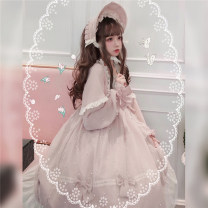 Dress Autumn of 2019 S M L Mid length dress singleton  Long sleeves Sweet Crew neck middle-waisted Solid color zipper Princess Dress Princess sleeve Others 18-24 years old Sizubfox / ancestor Fox More than 95% Chiffon other Other 100% Lolita Pure e-commerce (online only)
