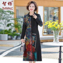 Middle aged and old women's wear Autumn 2020 Blue red XL [within 105 kg] 2XL [105-120 kg] 3XL [120-135 kg] 4XL [135-145 kg] 5XL [145-160 kg] fashion Dress easy Decor moderate routine Zhiyang polyester Polyester 100% 96% and above Pure e-commerce (online only) Medium length Polyester skirt