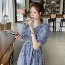 Women's large Spring 2021 Picture color S M L XL Dress singleton  commute Self cultivation Socket Short sleeve Korean version V-neck have cash less than that is registered in the accounts puff sleeve Webbed 25-29 years old Short skirt Other 100% Pure e-commerce (online only) Princess Dress