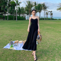 Women's large Summer 2021 black S M L XL Dress singleton  commute Self cultivation Socket Sleeveless Solid color Korean version Medium length Webbed 25-29 years old longuette Other 100% Pure e-commerce (online only)
