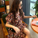 Women's large Summer 2021 Dress S M L XL Dress singleton  commute Self cultivation Socket Short sleeve Broken flowers Korean version V-neck have cash less than that is registered in the accounts routine ++19 Webbed 25-29 years old Short skirt Other 100% Pure e-commerce (online only)