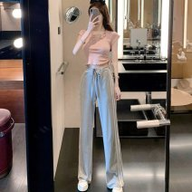 Women's large Summer 2021 Jacket and trousers S M L Two piece set commute Self cultivation Socket Short sleeve Korean version routine +61 Webbed 25-29 years old Other 100% Pure e-commerce (online only) trousers