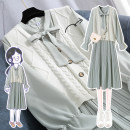 Nursing clothes M L XL 2XL 3XL Chabo Socket spring and autumn Long sleeves Medium length Korean version Dress Solid color Lift up