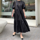 Dress Summer 2020 black S M L XL longuette singleton  Short sleeve commute Crew neck Loose waist Solid color Socket A-line skirt puff sleeve 25-29 years old Type A An Yintong Korean version Threaded zipper 51% (inclusive) - 70% (inclusive) cotton Cotton 70% polyester 30% Pure e-commerce (online only)