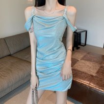 T-shirt Malachite blue S M L Summer 2021 Sleeveless Self cultivation Medium length Sweet other 96% and above 18-24 years old Solid color KWOKFOOK Other 100% Pure e-commerce (online only) Ruili