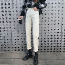 Jeans Autumn 2020 Off white (trousers) off white (nine points) black (trousers) black (nine points) off white (plush thickening) black (plush thickening) XS S M L XL XXL trousers High waist Straight pants routine 18-24 years old Wash button Cotton denim light colour XNX80322 Xi Nuo Xue 96% and above
