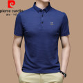 T-shirt Business gentleman Blue, black, gray, white routine 165/M,170/L,175/XL,180/XXL,185/XXXL,190/XXXXL Pierre Cardin / Pierre Cardin Short sleeve Lapel standard daily summer middle age routine Business Casual 2021 Solid color Embroidered logo cotton No iron treatment International brands