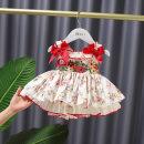 Dress Flower skirt red female Rachel 80cm 90cm 100cm 110cm 120cm Cotton 95% polyester 5% summer princess Skirt / vest Broken flowers cotton A-line skirt Floral Dress (New) Summer 2021 12 months 6 months 9 months 18 months 2 years 3 years 4 years 5 years old
