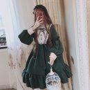 Dress Summer of 2019 Dark green, black, B light blue long sleeve skirt, b black long sleeve skirt Default size longuette singleton  Long sleeves Lotus leaf collar A-line skirt Bow, ruffle, lace