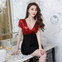 Dress Spring of 2019 All black-410, black red-q12, black yellow-577 S,M,L,XL,3XL,XXL Short skirt Short sleeve Sweet V-neck High waist Solid color Socket Princess Dress routine 18-24 years old Other Hollow out, open back, stitching DB526C07 More than 95% polyester fiber princess