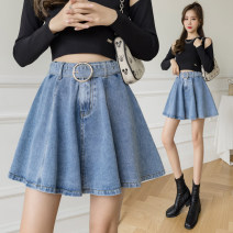 skirt Summer 2021 S,M,L,XL Grey, blue (with safety pants) Short skirt Versatile High waist A-line skirt Solid color Type A 18-24 years old 91% (inclusive) - 95% (inclusive) Denim Frenulum