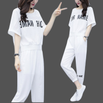 Women's large Summer 2020 White (two pieces of high quality fabric) black (two pieces of high quality fabric) white top single white pants single Two piece set commute easy thin Socket Short sleeve Korean version routine EPGZ67690 Love beauty Other 100% Ninth pants