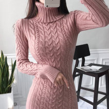 Dress Autumn 2020 Blue white pink S M L XL Mid length dress singleton  Long sleeves commute High collar High waist Solid color Socket One pace skirt routine Others 25-29 years old Type X Guangdong Philippines Korean version Splicing YNZQ15278 More than 95% polyester fiber
