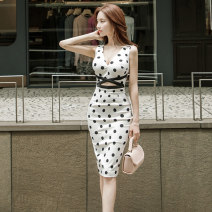 Dress Summer 2020 white S M L XL Mid length dress singleton  Sleeveless commute V-neck middle-waisted Dot zipper One pace skirt camisole 25-29 years old Type X Guangdong Philippines Ol style Opencut open back zipper print NRJ3456 More than 95% polyester fiber Pure e-commerce (online only)