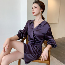 Dress Autumn 2020 Dark purple S M L XL Short skirt singleton  Long sleeves commute Polo collar middle-waisted Solid color zipper One pace skirt shirt sleeve Others 25-29 years old Type H Guangdong Philippines Korean version Pleated button zipper GT9246 More than 95% other Other 100%