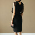 Dress Summer 2020 black S M L XL Middle-skirt Fake two pieces Sleeveless commute stand collar middle-waisted Solid color zipper One pace skirt Others 25-29 years old Type X Guangdong Philippines Korean version Open back mesh zipper YVJO98066 More than 95% polyester fiber Pure e-commerce (online only)