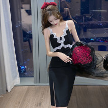 Dress Summer 2021 black S M L Mid length dress singleton  Sleeveless commute V-neck middle-waisted Solid color zipper One pace skirt 18-24 years old Type X Guangdong Philippines Korean version Open back lace More than 95% other Other 100% Pure e-commerce (online only)