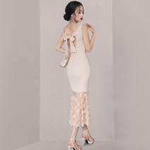 Dress Summer 2021 light pink S M L XL Mid length dress singleton  Sleeveless commute Crew neck middle-waisted Solid color other other 25-29 years old Type X Guangdong Philippines Korean version Bow and ruffle with open back lace More than 95% other Other 100% Pure e-commerce (online only)