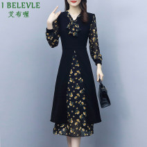 Women's large Autumn 2020 black M L XL 2XL 3XL 4XL Dress Fake two pieces commute Self cultivation moderate Socket Long sleeves Decor Korean version other Collage routine Ebley 35-39 years old zipper Medium length Other 100% Pure e-commerce (online only) other bow