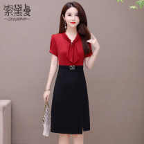 Middle aged and old women's wear Summer 2021 Red Blue Coffee L XL 2XL 3XL 4XL 5XL commute Dress Self cultivation Fake two pieces Solid color Socket thin V-neck routine Sodeman pocket other Other 100% 96% and above Pure e-commerce (online only) zipper Medium length other skirt Korean version