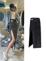 skirt Summer 2021 S M L XL Black blue Mid length dress Versatile High waist A-line skirt Solid color Type A More than 95% Alimu other Pocket button zipper Other 100% Pure e-commerce (online only)