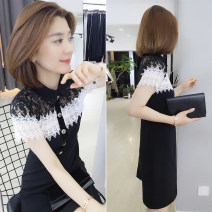 Dress Summer 2020 black S M L Mid length dress singleton  Short sleeve street Crew neck High waist Decor other A-line skirt routine 30-34 years old Type A Han Gusu 81% (inclusive) - 90% (inclusive) polyester fiber Polyester fiber 89.1% polyurethane elastic fiber (spandex) 10.9% Europe and America