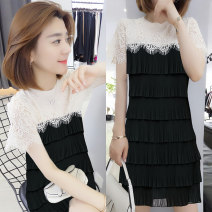 Dress Summer 2021 black S M L Mid length dress singleton  Short sleeve commute Crew neck middle-waisted other Socket A-line skirt routine 30-34 years old Type A Han Gusu Korean version Splicing F192t03100p9 More than 95% polyester fiber Polyester 100% Pure e-commerce (online only)