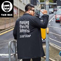 Windbreaker black GxxH Youth fashion 2XL [165-185 Jin], 3XL [185-200 Jin], 4XL [205-215 Jin], 5XL [220-235 Jin], 6xl [240-255 Jin], 7XL [260-280 Jin] Single breasted Medium length easy Other leisure autumn Large size Lapel tide Polyester 100% other washing Mingji thread patch bag other printing other