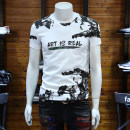 T-shirt Fashion City Yellow, white, black routine M,L,XL,2XL,3XL,4XL Others Short sleeve Crew neck Self cultivation daily summer Cotton 95% polyurethane elastic fiber (spandex) 5% youth routine Exquisite Korean style Cotton wool 2021 printing cotton No iron treatment Fashion brand