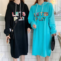 Women's large Autumn 2020 Hu green gray black Large M is suitable for 80 Jin - 135 Jin, l is suitable for 135 - 165 Jin, and XL is suitable for 165 - 200 Jin Sweater / sweater singleton  commute easy thin Socket Long sleeves letter Hood Medium length Three dimensional cutting routine Qi Zhenyue