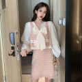 Women's large Spring 2021 White shirt - pink vest - Pink Plaid Skirt L XL S M Dress Three piece set commute easy Socket Long sleeves lattice Retro V-neck routine other routine MXJ19092402 Mi Xuejian 18-24 years old 96% and above Short skirt Other 100% Pure e-commerce (online only) other