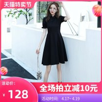 cheongsam Summer 2020 S M L XL XXL black Short sleeve Short cheongsam Retro No slits daily Oblique lapel Solid color 18-25 years old Piping SW20099 Sen Wan other Other 100% Pure e-commerce (online only)