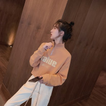 Women's large Autumn 2020 S M L XL Sweater / sweater singleton  commute Socket Long sleeves letter Korean version stand collar have cash less than that is registered in the accounts other Three dimensional cutting routine 18-24 years old zipper Other 100% Pure e-commerce (online only) shorts