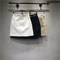 skirt Summer of 2019 S,M,L,XL,2XL White, black, khaki Short skirt Versatile Natural waist skirt Solid color Type H 71% (inclusive) - 80% (inclusive) Denim cotton