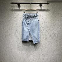 skirt Spring 2021 S,M,L,XL blue Mid length dress Versatile Natural waist skirt Solid color Type H 71% (inclusive) - 80% (inclusive) Denim cotton