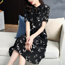 Dress Summer 2021 black S M L XL longuette singleton  Short sleeve commute Polo collar middle-waisted Decor Socket A-line skirt routine 30-34 years old Type A It's so clear printing GXD73274 More than 95% Silk and satin silk Mulberry silk 100%