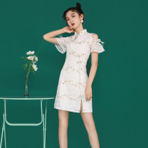 cheongsam Summer 2020 S M L XL floret Short sleeve Short cheongsam ethnic style Low slit daily Oblique lapel Broken flowers 18-25 years old HIMHIN other Other 100% Pure e-commerce (online only)