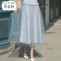 skirt Spring 2020 Average size Light grey light green Mid length dress commute Natural waist A-line skirt Type A SZB20A201043 More than 95% Suzberg other Embroidery ethnic style Other 100% Pure e-commerce (online only)