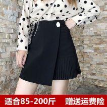 skirt Spring 2021 M,L,XL,2XL,3XL,4XL Black, green Short skirt High waist Irregular Fold, asymmetry, three dimensional decoration