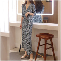 Dress Summer of 2019 Mung bean XS S M L XL XXL longuette singleton  three quarter sleeve commute V-neck middle-waisted Dot Big swing other Breast wrapping 25-29 years old Type A Korean version Bow tie stitching print More than 95% polyester fiber Polyester 95% polyurethane elastic fiber (spandex) 5%