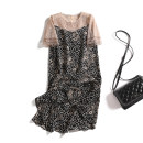 Dress Summer 2020 Decor L,XL,2XL,3XL,4XL Mid length dress Fake two pieces Short sleeve commute Crew neck Loose waist Decor A button A-line skirt routine Others Type A Korean version Stitching, lace, print 51% (inclusive) - 70% (inclusive) Chiffon other