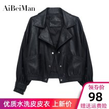 leather clothing Aibeiman Spring 2021 S M L Yellow Black Beige have cash less than that is registered in the accounts Long sleeves easy commute tailored collar zipper routine PU pocket 25-29 years old Wash skin PU Pure e-commerce (online only)