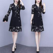 Dress Spring 2021 black L,XL,2XL,3XL,4XL,5XL Mid length dress singleton  Nine point sleeve commute V-neck High waist Solid color Socket Ruffle Skirt routine Type A Splicing polyester fiber