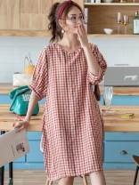 Nightdress Other / other Average size Sweet Middle sleeve Leisure home longuette summer lattice youth Crew neck viscose  printing 41% (inclusive) - 60% (inclusive)