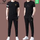 Leisure sports suit summer 165,170,175,180,185,190 Short sleeve Chiamania trousers youth T-shirt cotton 2021