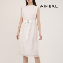 Dress Summer 2020 E00 34 36 38 Mid length dress singleton  Sleeveless commute Crew neck middle-waisted Solid color other other routine Others 25-29 years old lady 31% (inclusive) - 50% (inclusive) hemp Same model in shopping mall (sold online and offline)